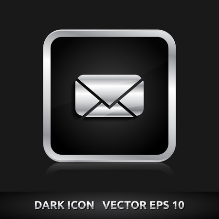 silver metal: Message email SMS icon | color dark black silver metal grey white