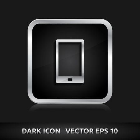 Mobile device smart phone icon | color dark black silver metal grey white  Vector