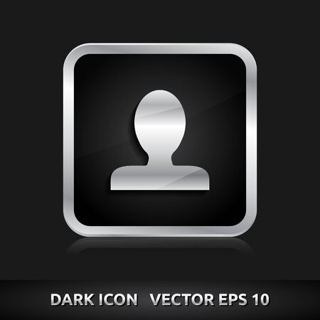 User icon | color dark black silver metal grey white  Vector