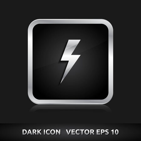 3d lightning: Light bolt flash icon | color dark black silver metal grey white
