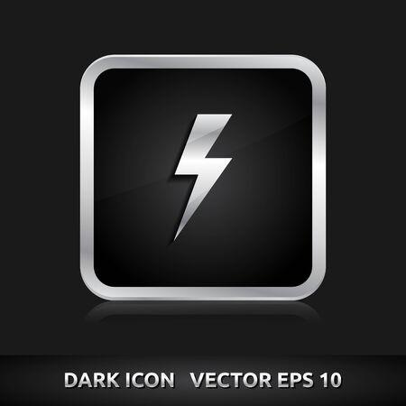 3d  bolt: Light bolt flash icon | color dark black silver metal grey white