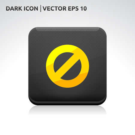 Ban stop icon | color dark black gold yellow  Vector