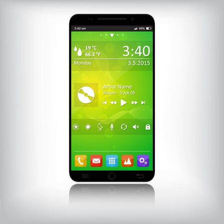 Smart phone with abstract background, Vector