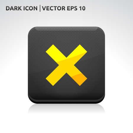 Cancel cross remove icon | color dark black gold yellow  Vector
