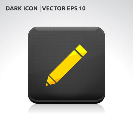Pencil pen icon | color dark black gold yellow | icon set  Vector