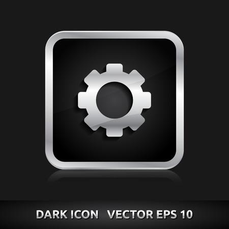Settings icon | color dark black silver metal grey white  Vector