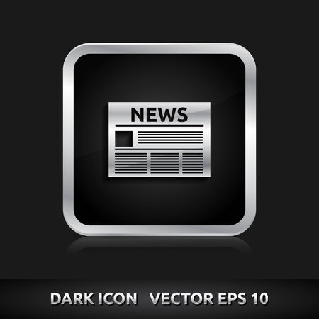 currently: News icon | color dark black silver metal grey white