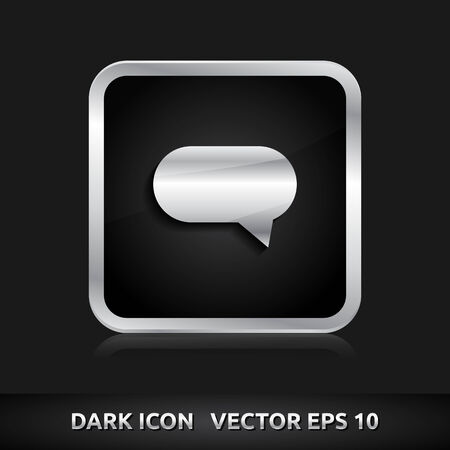 komentář: Bubble komentář ikona | barva tmavě černé stříbrná metal šedá bílá