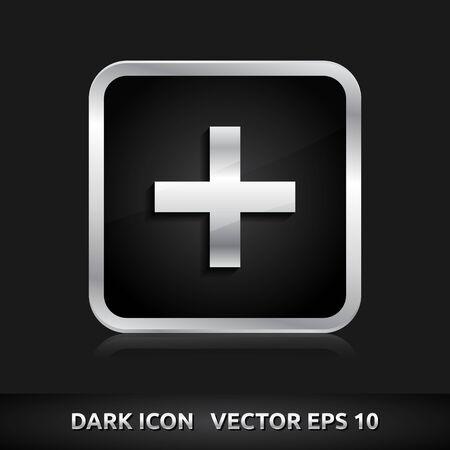 Plus add icon | color dark black silver metal grey white  Vector