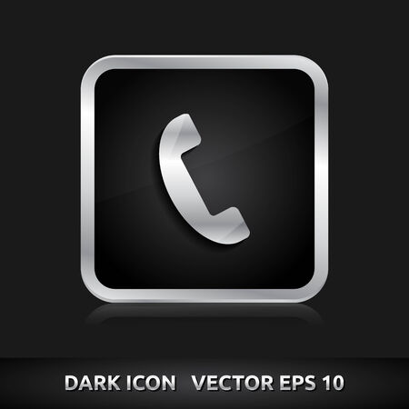 Phone icon | color dark black silver metal grey white  Vector