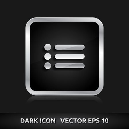 silver metal: List of contacts icon | color dark black silver metal grey white  Illustration