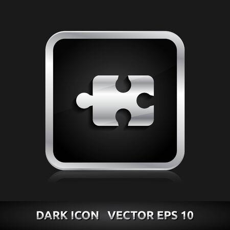 Puzzle icon | color dark black silver metal grey white  Vector