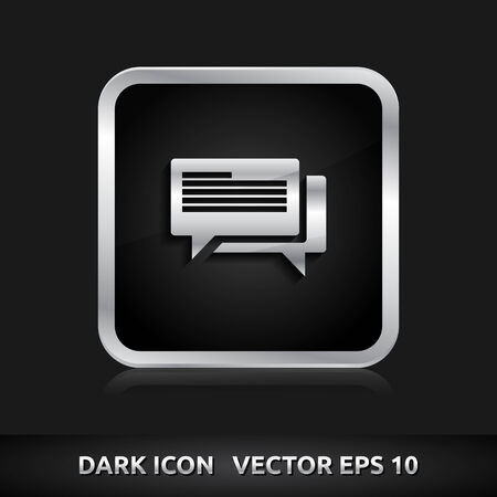 komentář: Ikona Komentář | barva tmavě černé stříbrná metal šedá bílá Ilustrace
