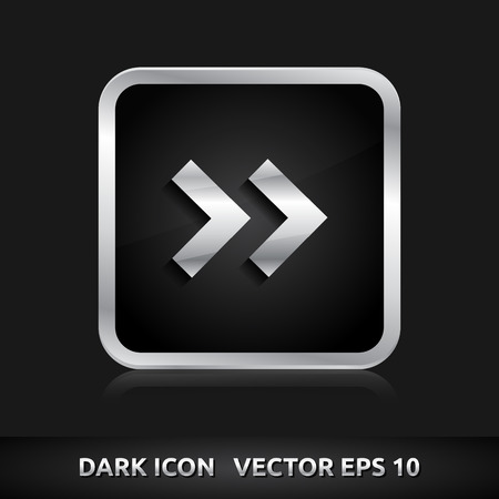 Arrow icon | color dark black silver metal grey white  Vector