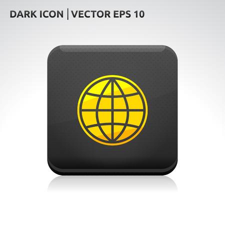 gold  yellow: Globe map world icon   color dark black gold yellow