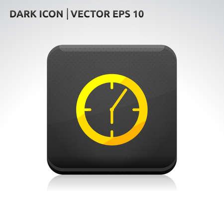 Clock icon | color dark black gold yellow  Vector