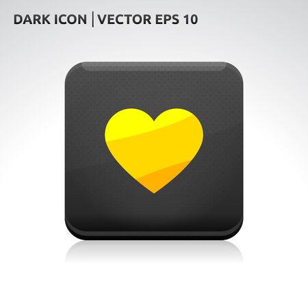 gold  yellow: Heart icon   color dark black gold yellow  Illustration