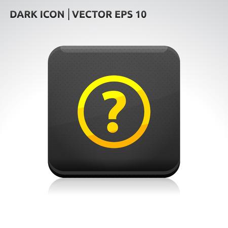 Ask question icon   color dark black gold yellow Vector