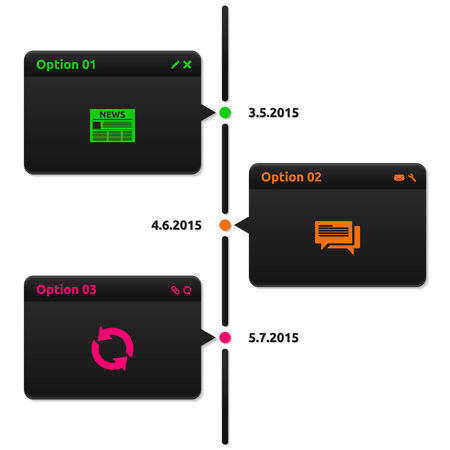Timeline dark theme - 3 options with date - glossy infographics Vector
