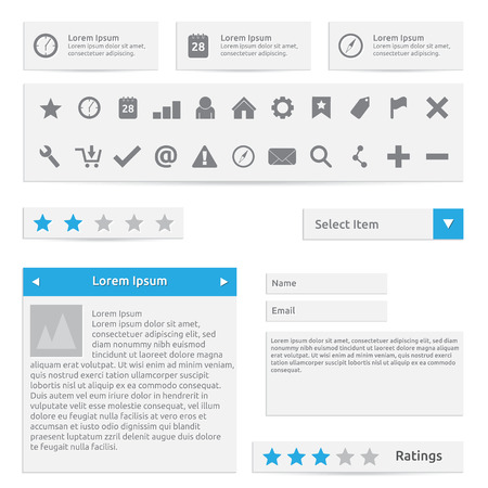 tooltip: Website elements, form, icons and options