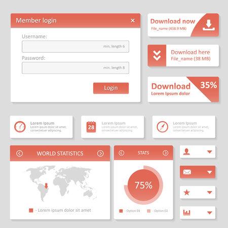 Flat UI design website elements  Vector