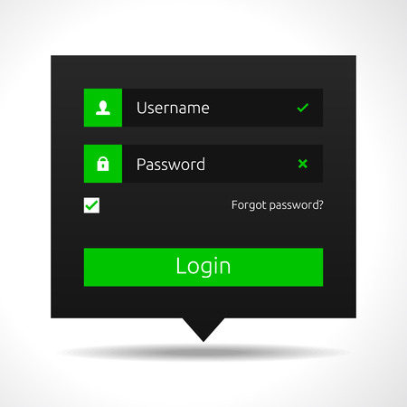 Member login - dark theme - green Vector