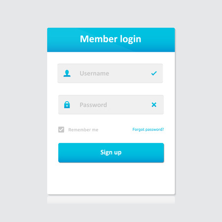 username: Member login template - username password and sign up | vector symbols light theme