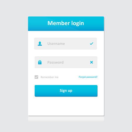 Miembro plantilla de inicio de sesión - nombre de usuario contraseña y registrarse | símbolos vectoriales tema de la luz