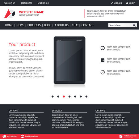 slideshow: Website template - slideshow, 3 options and horizontal menu company Illustration