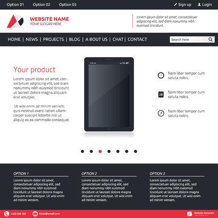 slideshow: Website template - slideshow, 3 options and horizontal menu company Illustration