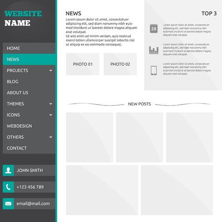 plantilla de sitio web: Modelo del Web site (elementos) con presentaci�n de diapositivas, opciones y men� vertical Vectores