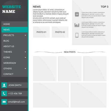 slideshow: Website template (elements) with slideshow, options and vertical menu