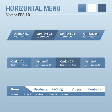 Horizontal menu - website elements - web design UI Vector