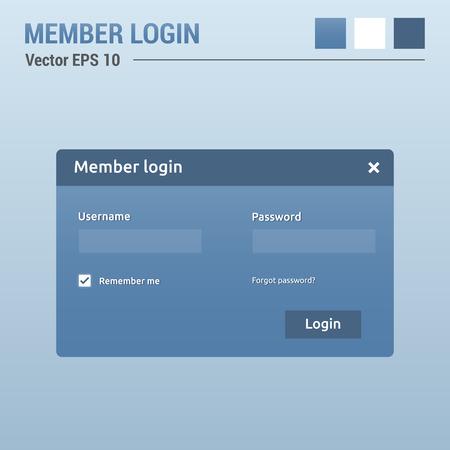 Member login - website elements - web design UI Vector