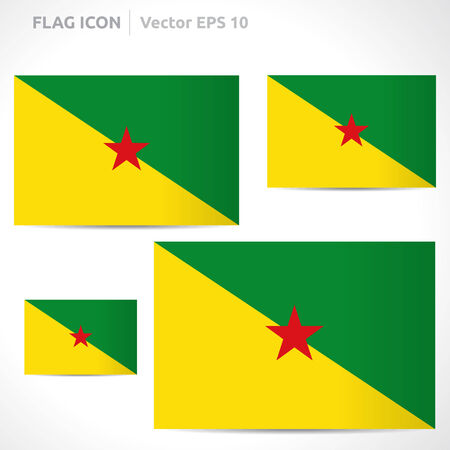 French Guiana flag template  symbol design  Vector