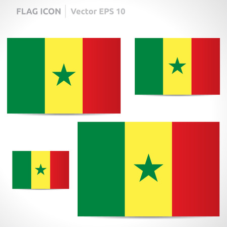 Senegal flag template | vector symbol design | color yellow red and green | icon set Vector