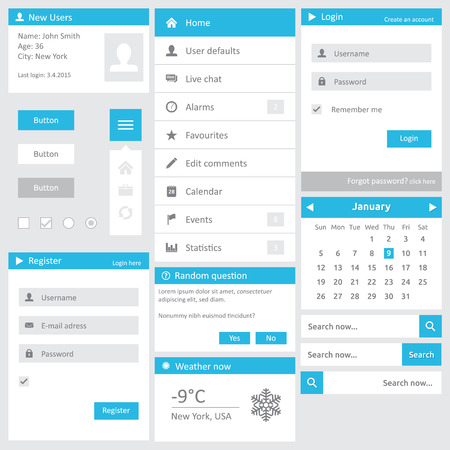 Website template - flat design elements with login calendar search dialog button register and vertical menu