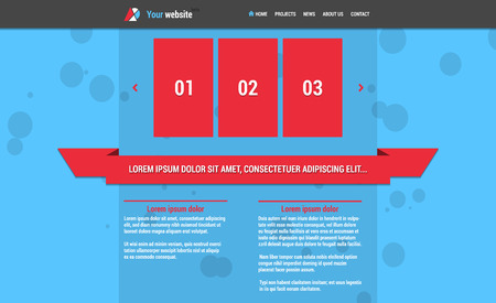 Website template with horizontal menu and slideshow blue color red Vector