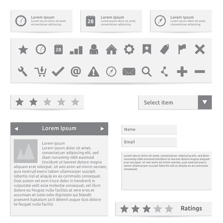 Website elements, form, icons and options