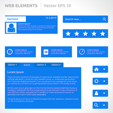 Web site elements template  向量圖像