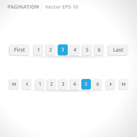 Pagination bars | color blue and white | abstract vector design | website element | paper silver look