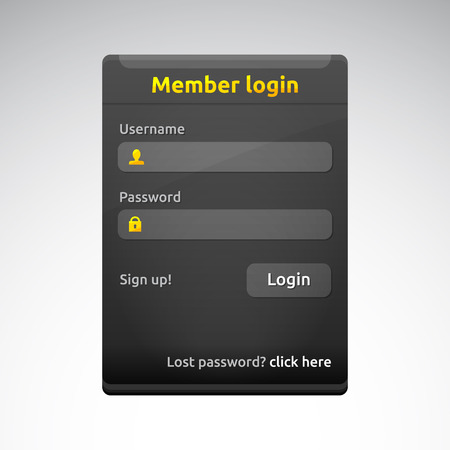 Member login box with username and password labels | sign up | dark theme template | business vector design | golden and white | web elements set