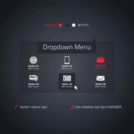 Dropdown menu - transparent website element - dark and red Vector