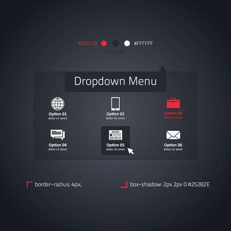 Dropdown menu - transparent website element - dark and red Vector