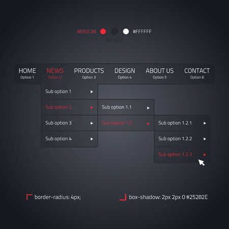 Horizontal dropdown menu - transparent website element - dark and red Vector