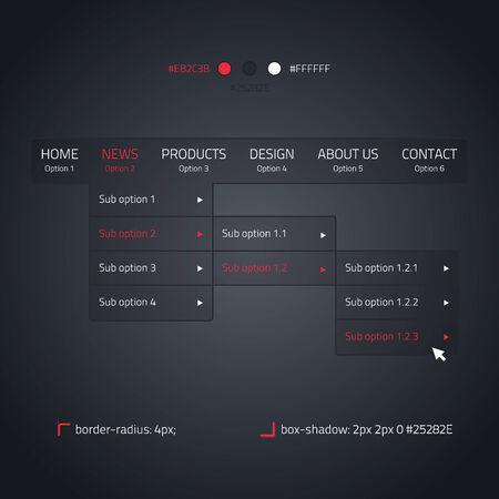 Horizontal dropdown menu - transparent website element - dark and red Vector