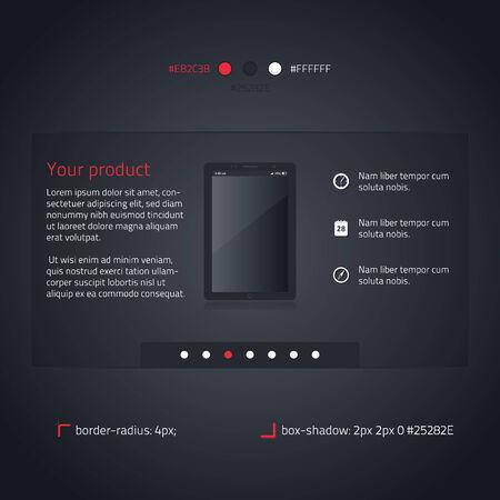 Slideshow box - transparent website element- dark and red