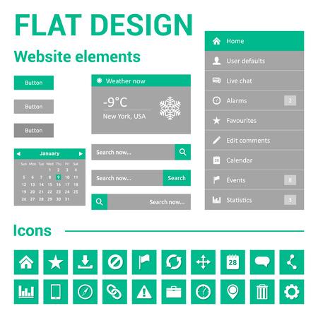Flat design for website - web template set