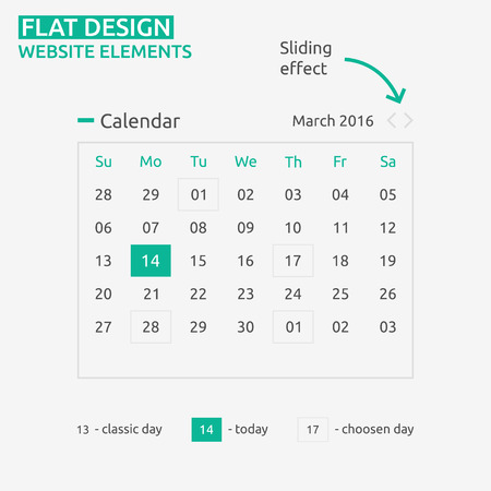 Calendar Flat design - website element - web