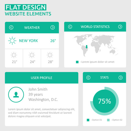 Flat UI design website elements - world map, user profile, stats, weather